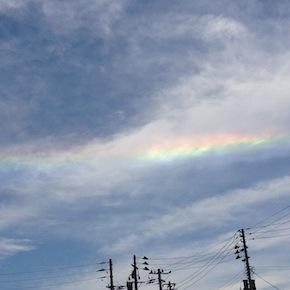 [み]山形の空にまっすぐな虹「環水平アーク/水平環」がでてた