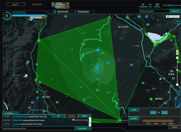 見にくいIngress Intel Map
