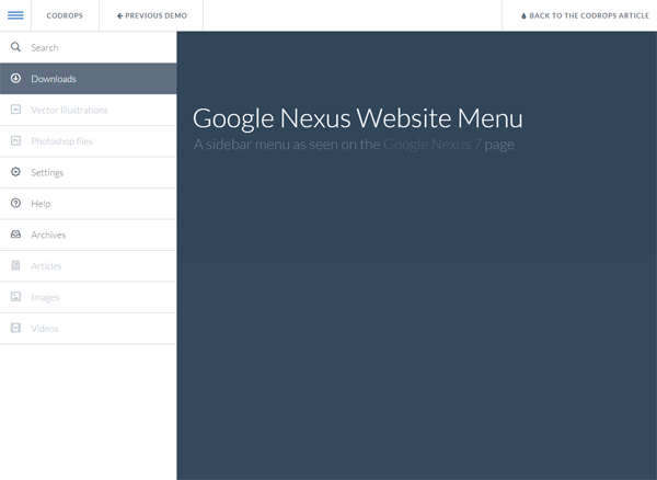 Google Nexus Website Menu