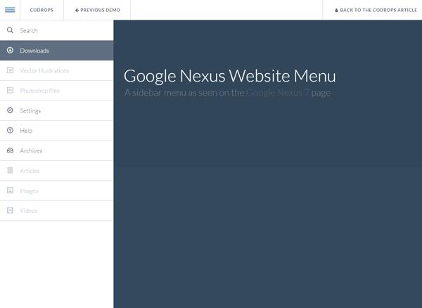 Google Nexus Website Menu